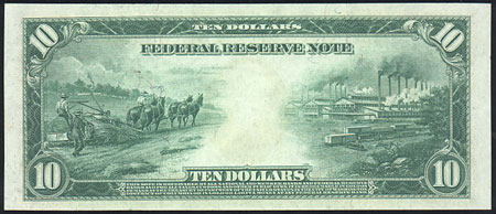 1914 federal reserve note 11 - Hemp 10 Dollar Bill