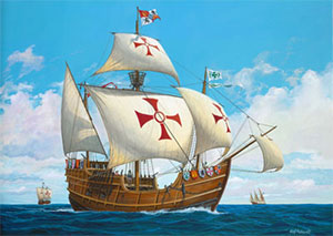 columbus ships color1 - Christopher Columbus discovered America with Ships that used Hemp Sails