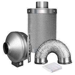 iPower 4 Inch 190 CFM Duct Inline Fan with 4″ Carbon Filter 8 Feet Ducting Combo for Grow Tent Ventilation
