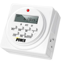 iPower 7 Day Heavy Duty Digital Programmable Electric Timer, Indoor Dual Outlet Switch for Lights, Appliance, Pool Pump, 125VAC, 15A, 60 Hz, 1725W, ETL Listed, White, 1 Pack