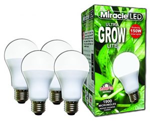 Miracle LED Commercial Hydroponic Ultra Grow Lite – Replaces up to 150W – Daylight White Full Spectrum LED Indoor Plant Growing Light Bulb For DIY Horticulture & Indoor Gardening (604281) 4 Pack